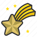 christmas, comet, star, star fall, xmas icon