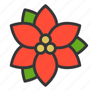 christmas, flora, floral, flower, poinsettia, xmas icon