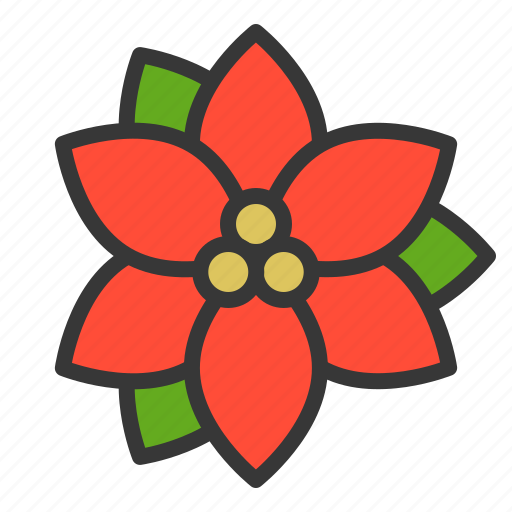 Christmas, flora, floral, flower, poinsettia, xmas icon - Download on Iconfinder