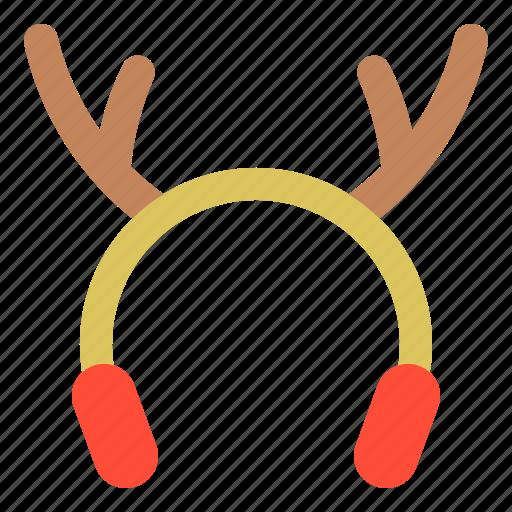 christmas, costume, deer horn, earmuffs, merry, xmas icon