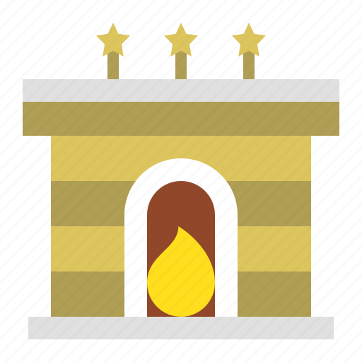 chimney, christmas, fireplace, merry, warm icon