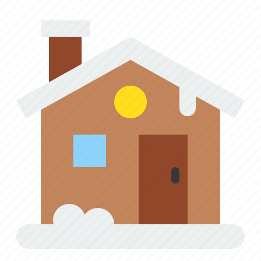 christmas, cottage, home, house, merry icon