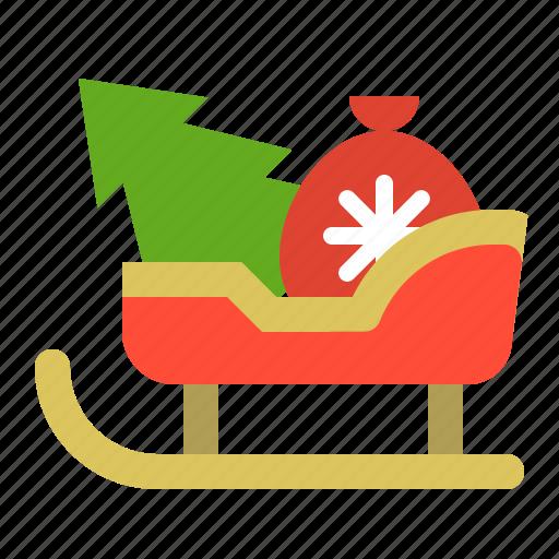 christmas, gift, merry, sled, sledge, sleigh, xmas icon