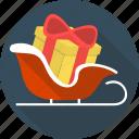 box, christmas, gift, holiday, ribbon, sledge, sleigh icon