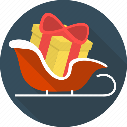 box, christmas, gift, holiday, ribbon, sledge, sleigh icon