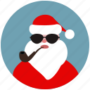 christmas, hipster, santa, santa claus, smoke, sun glasses, tube icon