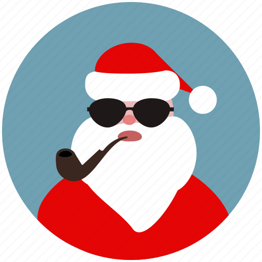 christmas, hipster, santa, santa claus, smoke, sun glasses, tube icon