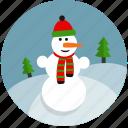 christmas, cold, fun, snow, snowman, tree, winter