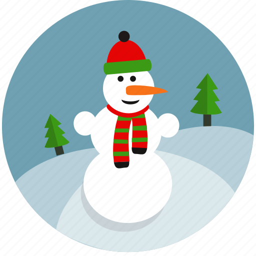 christmas, cold, fun, snow, snowman, tree, winter icon