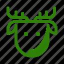 animal, christmas, deer, head, reindeer, snow, x-mas