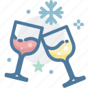 celebrate, cheers, christmas, party, snowflake, wine glass