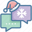 chat, christmas, christmas hat, message, santa hat, snowflake icon