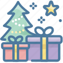 christmas, christmas tree, gift box icon