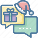 black friday, chat, christmas, christmas hat, message, santa hat icon
