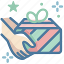 christmas, gift box, hand, thanksgiving icon