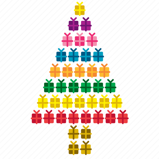 abstract, christmas, concept, decoration, gift, present, tree icon