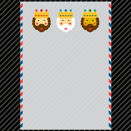 christmas, kings, letter, magi, men, three, wise icon