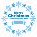 christmas, greeting, happy new year, merry, snow, snowflake, xmas icon