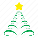 christam, decoration, fir, ornament, star, tree icon