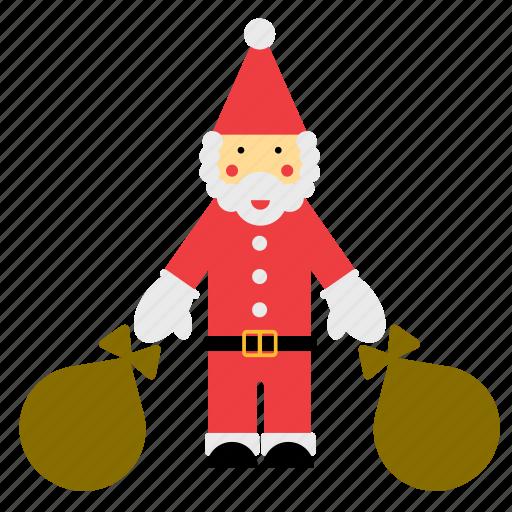 christmas, claus, father, sack, santa, santas, xmas icon