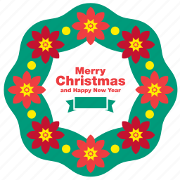 christmas, decoration, greeting, happy new year, merry, ornament, wreath icon
