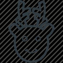 animal head, christmas reindeer, deer head, elk, reindeer head icon