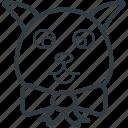 animal, bunny, bunny face, hare, rabbit face icon