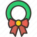 bow, christmas, decoration, leaf, wreath, gift, wrap