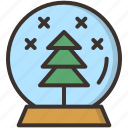 ball, christmas, crystal, gift, globe, snow, tree icon