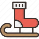 christmas, gift, present, santa, sledge, snow, socks icon