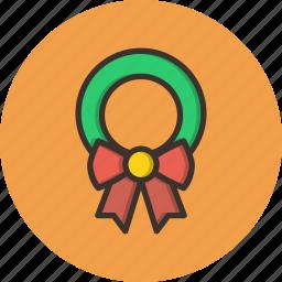bow, celebration, christmas, decoration, gift, leaf, wreath icon