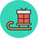 celebration, christmas, gift, new year, present, santa, sledge icon