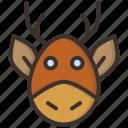 christmas, deer, rein, rudolph, santa, winter icon