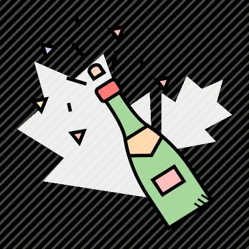 bottle, drink, new year, сhampagne icon