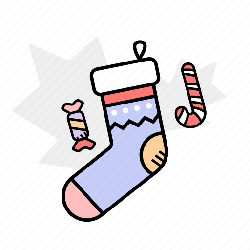 candy, christmas, decoration, sock icon