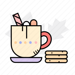 cocoa, cookies, hot chocolate, hot drink, sweets icon