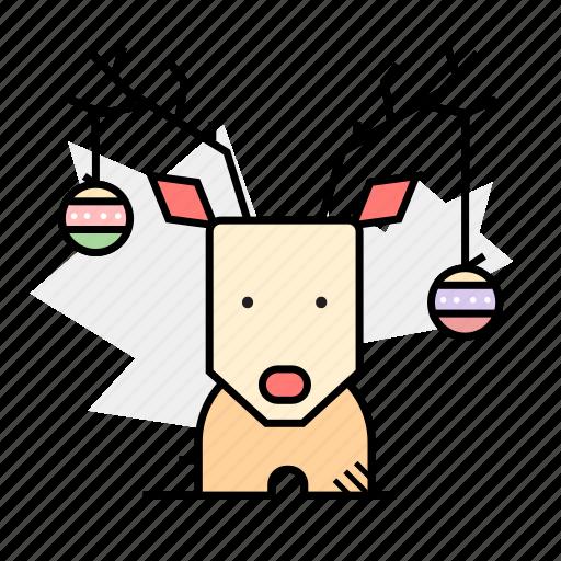 baubles, decoration, deer, horns icon