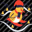 snowman, skiing, snow man, skis, poles, ski, winter icon
