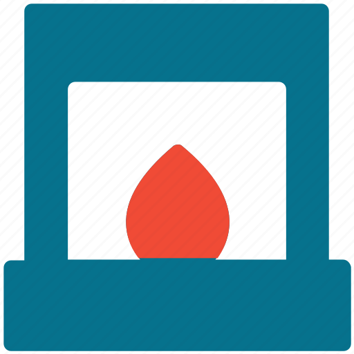 chimney with fire, fire, fireplace, warm icon