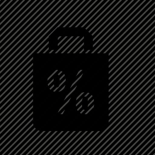 bag, discount, paper, percentage, sale, sales icon