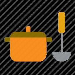 casserole, kitchen, kitchenware, ladle, pan, pot, saucepan icon