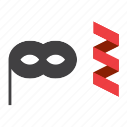 carnival, costume, mask, party, streamer icon