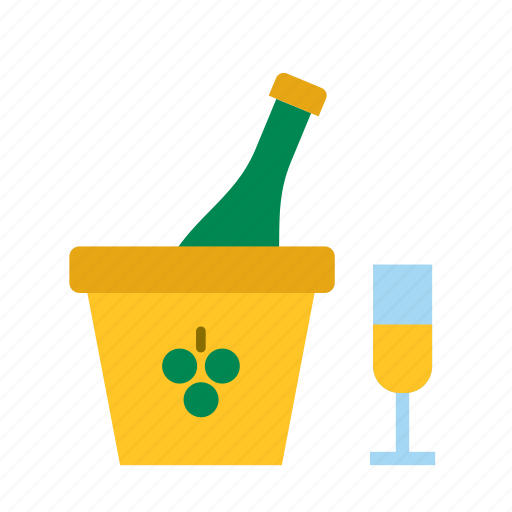 beverage, bottle, champagne, drink, glass, ice bucket icon