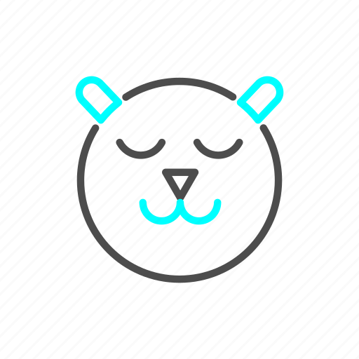 asleep, bear, outline, winter icon