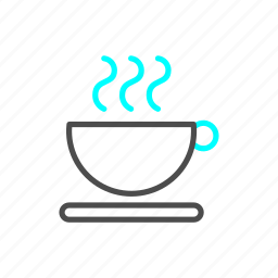 coffee, food, heat, outline, tea icon