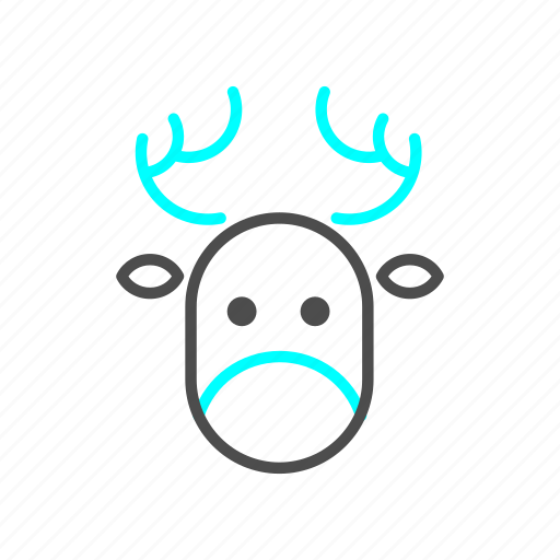 christmas, deer, holiday, outline, santa claus, winter icon