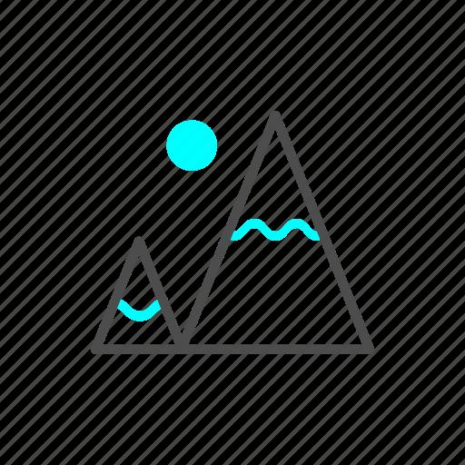 ice, mountain, outline, snow, winter icon
