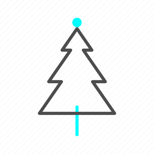 christmas, outline, pine, snow, winter icon