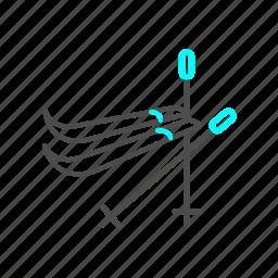 ice, outline, ski, snow, winter icon