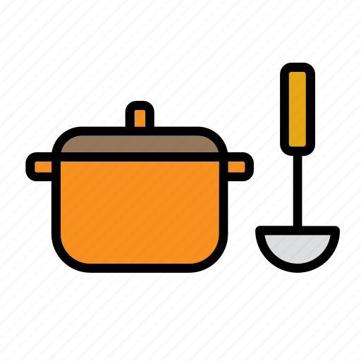 casserole, kitchen, kitchenware, ladle, pan, pot, saucepan icon